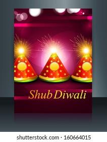Brochure crackers beautiful Happy Diwali template reflection vector