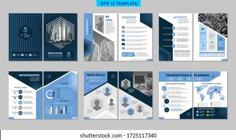 Brochure creative design with blue elements. Multipurpose template, include cover, back and inside pages. Trendy minimalist flat geometric design. Vertical a4 format.
