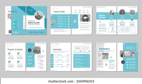 Brochure creative design. Multipurpose template with cover, back and inside pages. Trendy minimalist flat geometric design. Vertical a4 format.