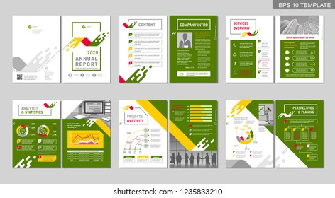 Brochure creative design. Multipurpose template with cover, back and inner pages. Trendy minimalist flat geometric design. Vertical a4 format.