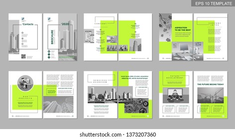 Brochure creative design. Multipurpose template, include cover, back and inside pages. Trendy minimalist flat geometric design. Vertical a4 format.