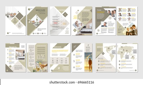 Brochure creative design. Multipurpose template with cover, back and inside pages. Vertical a4 format.