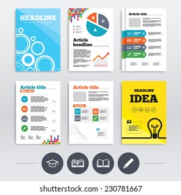 Brochure design and A4 flyers. Pencil and open book icons. Graduation cap symbol. Higher education learn signs. Infographics templates set. Vector