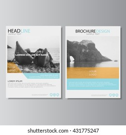 Brochure design. Annual report layout, flyer template. Leaflet layout. Magazine cover, poster template. Brochure template. Leaflet design. Presentation template. Vector Sea photo.