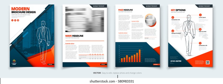 Brochure design. Blue & orange corporate business template for brochure, report, catalog. Layout with modern square photo and abstract triangle background. Creative brochure concept
