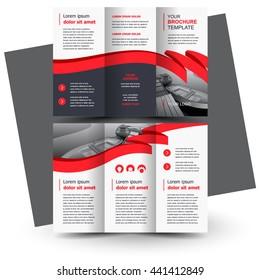 Brochure design, business brochure template, creative tri-fold, trend brochure ribbon