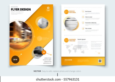 Brochure design. Corporate business report cover, brochure or flyer design. Leaflet presentation. Brochure with abstract circle, round shapes background. Modern poster magazine, layout, template. A4