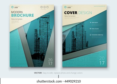 Brochure design. Corporate business template for annual report, catalog, magazine. Layout with color ribbon and teal abstract city background. Modern creative leaflet, poster, flyer or banner concept