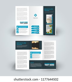 Brochure design. Creative tri-fold template. Abstract geometric background leaflet layout. Blue color vector illustration.