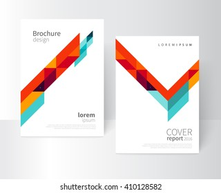 Brochure design. Flyer, booklet, annual report cover template. a4 size. modern Geometric Abstract background. blue, yellow and red diagonal lines & triangles. vector-stock illustration