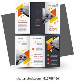 Brochure design, geometric abstract business brochure template, creative tri-fold, trend brochure triangles