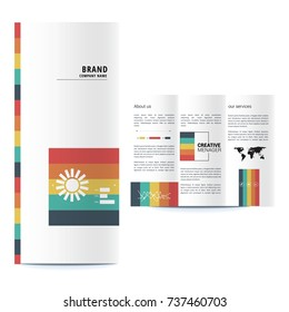 Brochure design, geometric abstract business brochure template, creative tri-fold