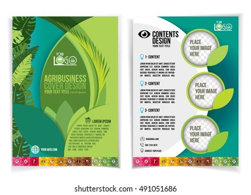 Brochure design for industrial agriculture and agribusiness, the design is simple, colorful and modern, brochure templates, background colors of green and blue, combined with attractive typography