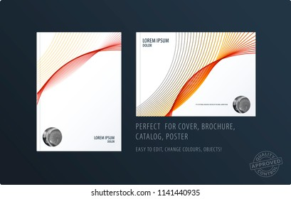 Brochure design soft template. Colourful modern abstract set, annual report with shapes for branding.