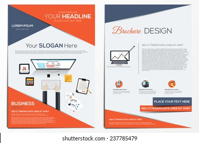 Brochure Design Template.  Abstract Modern Backgrounds, Infographic Concept.Flat design. Vector