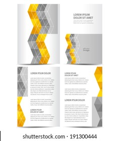 brochure design template booklet vector color grey, yellow abstract line figure white background