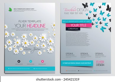 Brochure Design Template. Flower concept, Abstract Modern Backgrounds, Infographic. Vector