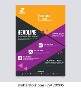 Brochure design template, flyer size A4 geometric color, Vector Illustration.