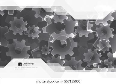 Brochure design template. Gear technology background.