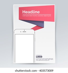 Brochure design template with smartphone for advertising. Creative leaflet, pamphlet, flyer cover for mockup. Vector graphic layout in a4 print size for promotion and events.