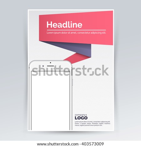 brochure design template with smartphone for advertising creative leaflet pamphlet flyer cover for