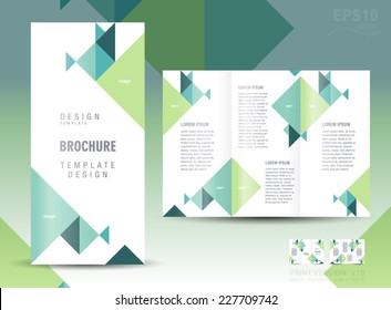 brochure design template triangles green