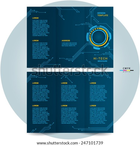 Brochure Design Template Trifold Futuristic Hitech Stock Vector