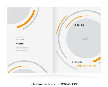 brochure design template tri-fold vector abstract round