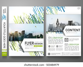 Brochure design template vector. Abstract blue cover book portfolio presentation. Flat green shape on poster. Flyers report business magazine. City concept in A4 layout.