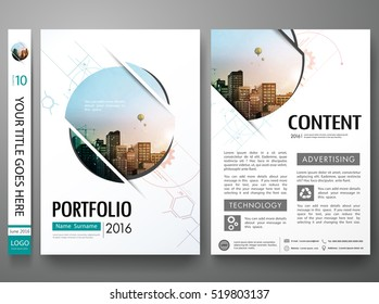 Brochure design template vector. Abstract circle cover book portfolio minimal presentation poster. City concept in A4 layout. Flyers report business magazine.