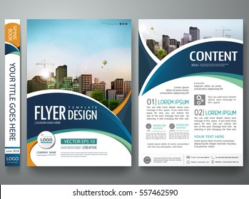 Brochure design template vector. Abstract blue circle cover book portfolio minimal presentation poster. City concept in A4 layout. Green flyers report business magazine.