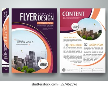 Brochure design template vector. Abstract circle cover book portfolio minimal orange presentation poster. City concept in A4 layout. Purple  flyers report business magazine.