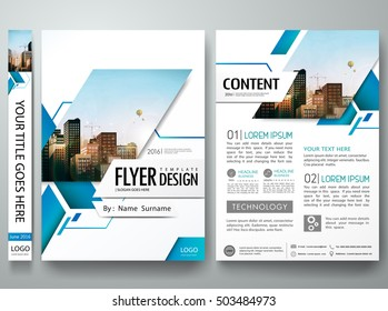Brochure design template vector. Blue abstract square cover book minimal portfolio presentation poster. City concept in A4 layout. Flyers report business magazine.