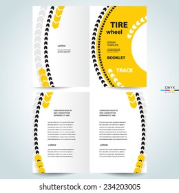 brochure design template vector booklet tire wheel track abstract, cmyk profile