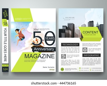 Brochure design template vector. Business flyers report magazine. Cover book portfolio summer presentation green shape on poster. City concept in a4 layout.