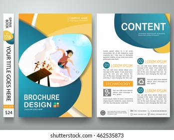 Brochure design template vector. Business flyers report magazine. Cover book portfolio presentation abstract blue circle on A4 poster. Summer on background layout.