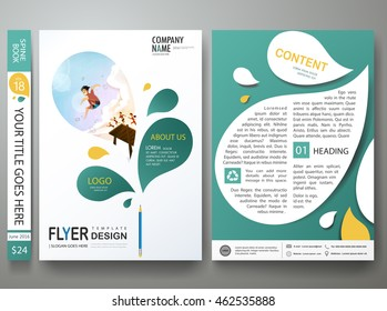 Brochure design template vector. Business flyers report magazine. Cover book minimal portfolio presentation abstract green leaf. Layout in A4 poster size background.