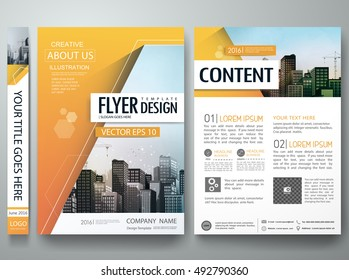 Brochure design template vector. City concept in A4 layout. Orange abstract hexagon in cover book minimal portfolio presentation poster. Flyers report business magazine.