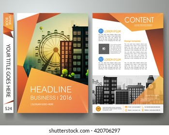Brochure design template vector. Flyers report business magazine.Cover book minimal portfolio presentation and abstract orange shape poster. City concept in A4 layout.