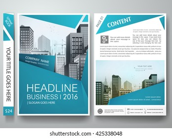 Brochure design template vector. Flyers report business magazine poster. Cover book portfolio leaflet or presentation with abstract blue shape and city. Layout in A4 size.