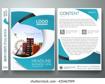 Brochure design template vector. Flyers annual report business magazine poster. Leaflet cover book technology presentation with abstract blue circle background and flat city. Layout in A4 size.