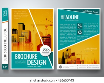 Brochure design template vector. Flyers report business magazine poster. Cover book portfolio leaflet or presentation with abstract green shape and city concept in A4 layout.