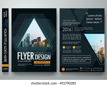 Brochure design template vector. Flyers report business magazine party night poster. Abstract blue hexagon cover book portfolio game presentation. Black triangle in a4 layout.