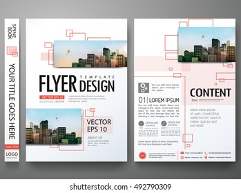 Brochure design template vector. Flyers report business magazine. Abstract square in cover book minimal portfolio presentation poster. City concept in A4 layout.