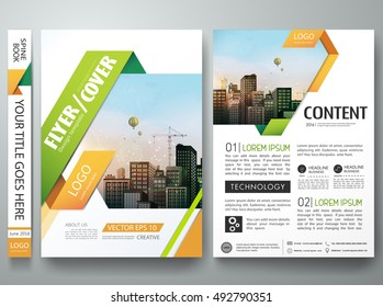 Brochure design template vector. Flyers report business magazine poster. Green and orange abstract square in minimal cover book portfolio presentation. City concept in A4 layout.