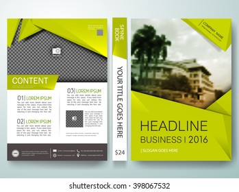 Brochure design template vector. Green abstract shape on cover book presentation. Concept in A4 layout. Modern flyers report business magazine poster portfolio.