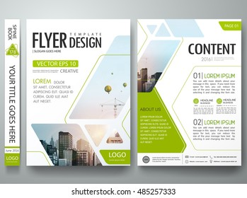Brochure design template vector. Green Abstract square cover book portfolio presentation. City in A4 layout. Flyers report business magazine and minimal poster.