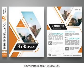 Brochure design template vector. Orange square in cover book presentation. City concept in A4 layout. Minimal flyers report business magazine poster portfolio.