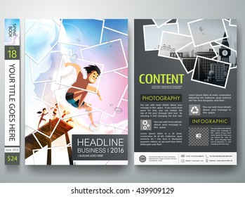 Brochure design template vector. Photography flyers business magazine. Cover book minimal portfolio presentation. Picture collage on poster. Summer concept in a4 layout.