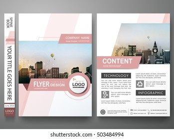 Brochure design template vector. Pink abstract shape cover book  presentation. City concept in A4 layout. Flyers report business magazine poster portfolio.
